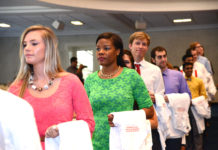 Dental students at the White Coat Ceremony.