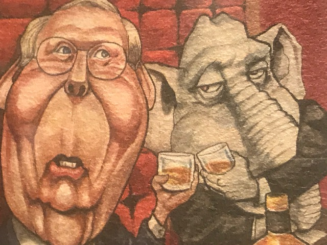 The most popular attraction in the new exhibit is the section that focuses on how Senator McConnell has been spoofed by the media during his 40-year political career.