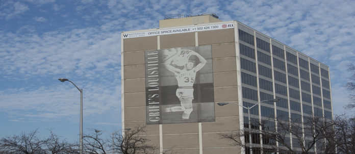 Darrell Griffith, UofL's all-time leading scorer, is honored on the Watterson City Building along 1-264 East.