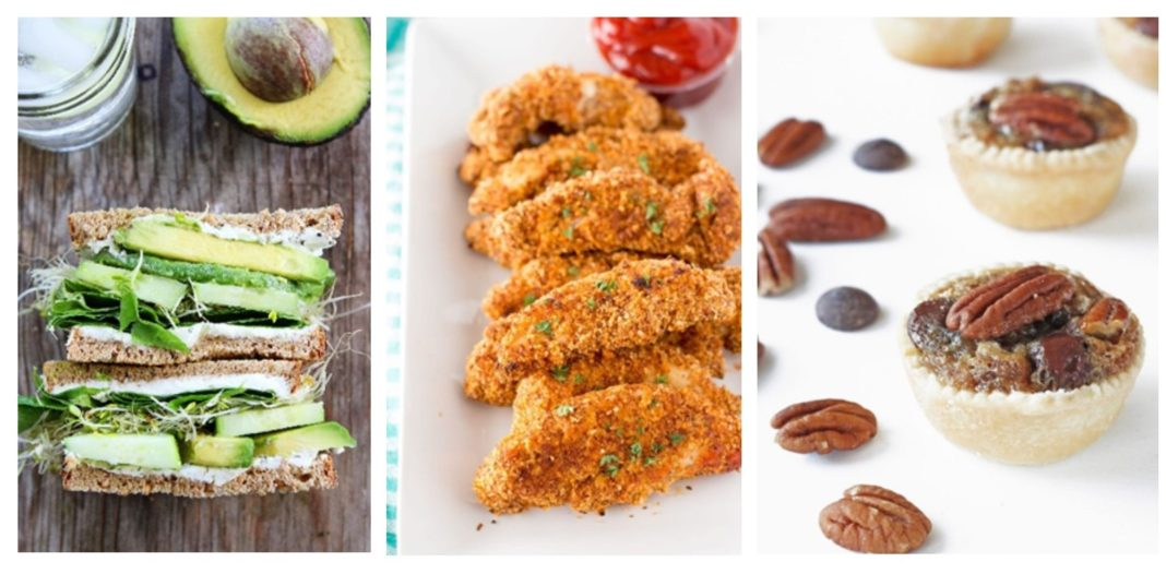 cucumber and avocado sandwiches, healthy chicken fingers, bite-sized Derby pies